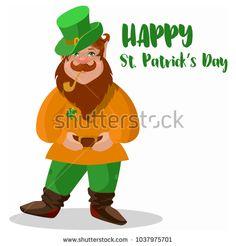 Saint Patrick's Day character leprechaun with hat, beard, smoking pipe, vector illlustration.