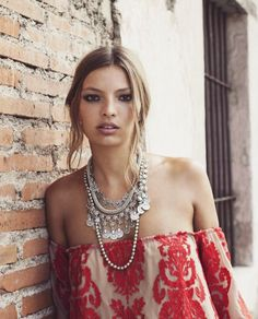 Amazing bohemian jewels. Gorgeous off-the-shoulder top to show them off also! For Love & Lemons, Spring 2014.