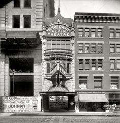 "Pittsburgh circa 1905. ""Alvin Theatre."" Coming soon: Eva Tanguay, ""The Sambo Girl."" 8x10 inch glass negative, Detroit Publishing Company."