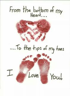 I love you kids foot and hand prints for Mother's day gifts