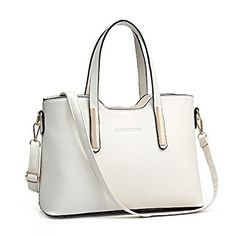Firegirl Women Pure Color PU Leather Tote Purse Shoulder Top Handle Handbag Beige: Handbags: Amazon.com