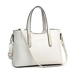 Firegirl Women Pure Color PU Leather Tote Purse Shoulder Top Handle Handbag Beige: Handbags: Amazon.com