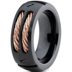 Titanium Wedding Band Ring 8mm for Men Women Comfort Fit Black Rose... ($28) ❤ liked on Polyvore featuring men's fashion, men's jewelry, men's rings, mens diamond band wedding ring, mens wedding rings, mens steel rings, mens rose gold ring and mens titani