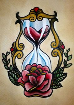 Traditional tattoo 'Hourglass' by ~Psychoead on deviantART