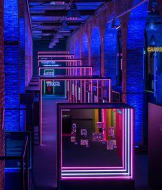 """Game On"" Immerses Visitors Into the Golden Age of Video Game Design - Design Milk Exhibition Display, Exhibition Space, Stage Design, Event Design, Design Design, Interior Design, School Architecture, Display Design, Contemporary Architecture"