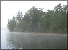 A foggy morning at Moore's Dam in Littleton, NH