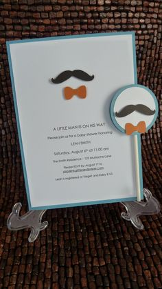 Mustache and Bow Tie Baby Shower Invitation.
