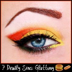 7 Deadly Sins | Gluttony orange and yellow eye makeup