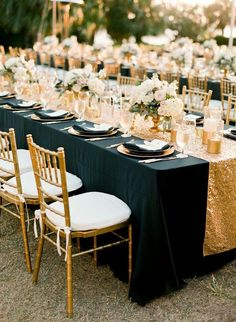 Sequin Linens Tablecloth Runner Overlay Wedding Event Party Anniversary Shower Bridal Reception Glitz Bling Decor Cake Sweetheart Table is part of Black gold wedding This fabric is stunning The tin - Gatsby Wedding, Mod Wedding, Trendy Wedding, Wedding Table, Wedding Events, Wedding Reception, Dream Wedding, Wedding Day, Black Tablecloth Wedding