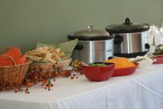 Great Idea! Since it's a fall theme, have a chili bar with all the toppings! LOVE!