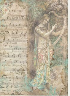 Rice Paper - Lady with harp - for Decoupage Scrapbook Craft Decoupage Vintage, Vintage Ephemera, Vintage Paper Crafts, Decoupage Printables, Printable Scrapbook Paper, Vintage Images, Vintage Art, Rice Paper Decoupage, Etiquette Vintage