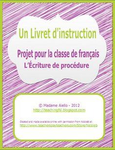 "French Procedural Writing - ""How To"" booklet - TeachingFSL - TeachersPayTeachers.com"