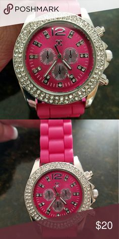 Charming Charlie's watch #makereasonableoffer Like new, never worn, fun hot pink color, band is rubber  style material, crystal detail. NEEDS A BATTERY. Charming Charlie Jewelry