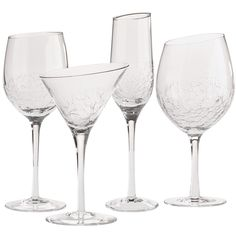 Our Angled Rim Crackle Stemware is modern and refined