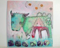 primitive tribal painting folk art mixed media animal original painting 30x30 cms canvas board - Beyond Time