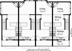 Main floor plan 2 for s 727 6 plex house plans narrow row 4 plex plans narrow lot