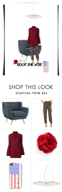 """""""Rock the Vote"""" by papillon-ze-cat ❤ liked on Polyvore featuring Sanctuary, Rosetta Getty, Cara, Casetify, Possini Euro Design, lighting, greenpants, redsweater and rockthevote"""