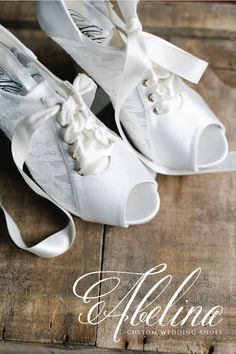 """Romantic Lace Booties by Abelina Wedding Shoes - how beautiful?Customize your wedding shoe from """"heel to toe"""" - from your shoe and sole colour, to the heel height and custom embellishments!  Available at Pearl & Ivory: www.pearlandivory.com #weddingshoes #bridalshoes #Abelina #lace #lacebooties Bridal Shoes, Wedding Shoes, Bridal Gowns, Lace Booties, Romantic Lace, How Beautiful, Your Shoes, Embellishments, Abs"""