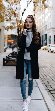 31 Most Popular Fall Outfits to Truly Feel Fantastic - Hi Giggle! - grey sweater Informations About 31 Most Popular Fall Outfits to Truly Feel Fantastic – Hi Giggle! Winter Outfits Women, Curvy Outfits, Casual Fall Outfits, Winter Fashion Outfits, Mode Outfits, College Winter Outfits, Women's Casual Winter Outfits, Preppy Winter Fashion, Dresses For Winter