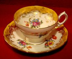 VINTAGE HAMMERSLEY & Co TEA CUP & SAUCER FLORAL YELLOW and GOLD PATTERN 591/3