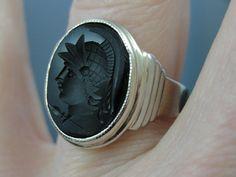 Art Deco White Gold and Onyx Mens Ring, Cameo Intaglio Roman Soldier RGCA212D