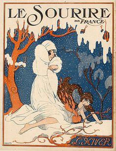 A Wuyts 1918  Winter, Snow, Elegant Parisienne
