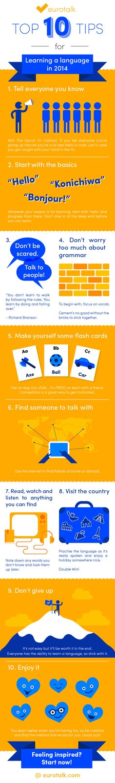 Has learning a language changed since last year? There are definitely many tips we can take from this infographic a year and a half later. We particularly like and #3 Don't be scared to talk to people! #6 Find someone to talk with! AND #10 Enjoy it!!! http://www.wordperfectenglish.com/practice-speaking-english/