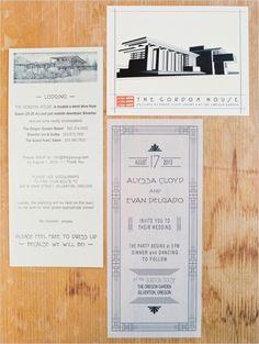 Frank Lloyd Wright House inspired wedding invitations. #weddinginvites #weddingideas #weddingchicks ---> http://www.weddingchicks.com/2014/04/24/the-gordon-house/