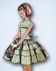 1950s Original Darlin Little Girls Sun Dress with Detachable Collar Pattern Sz 8 | eBay