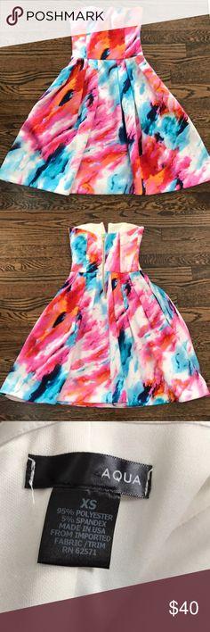 Aqua Neoprene Dress Bright colorful neoprene dress by Aqua. HAS POCKETS!!! Worn Once. Aqua Dresses Midi