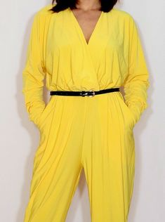1d086f21ec5 Yellow jumpsuit Long sleeve jumpsuit Batwing jumpsuit with pockets Bright  yellow pant suit Yellow Jumpsuit