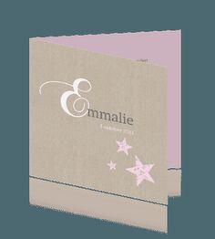 Klassieke babykaart dochter zand en roze.
