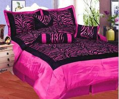5 Pc Hot Pink Zebra Comforter Set In Twin Size In A Bed-In-A-Bag