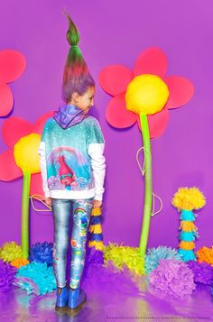 We're heading on a wild adventure in these Trolls Denim Leggings! We partnered with DreamWorks and their highly anticipated Trolls movie for one of our craziest collaborations yet. This photo-real denim print features the actual Trolls characters peeking out of faux rips, so that each of their unique personalities shines through, too. The characters' crazy hair adds a fun pop of color, while patches of clouds and rainbows have us dreaming of a land far, far away...