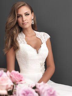 Keyhole Queen Anne A line Lace & Organza Cathedral Train Wedding Dress - 1300103593B - US$249.99 - BellasDress
