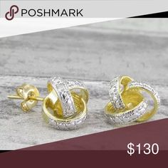 18KT gold over 925 SS with genuine diamonds stud Gorgeous!!! 18KT gold over 925 Sterling Silver with genuine diamonds stud earrings 3g 925 Jewelry Earrings