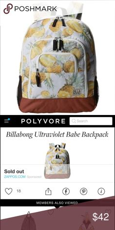 Billabong Pineapple Backpack Trades Excellent Condition ✨Cute Pineapple pattern backpack by Billabong !Sold Out ! Billabong Bags Backpacks