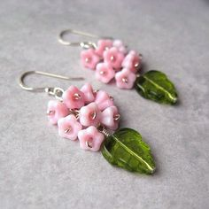 Pink Flower Earrings Sterling Silver Green Leaves British Etsy Team: ENCHANTED GARDEN. £12.50, via Etsy.