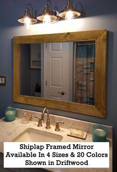 Buy Shiplap Large Wood Framed Mirror Available 4 Sizes 20 Colors: Shown Driftwood Stain - Large Wall Mirror - Rustic Barnwood Style - Bathroom Vanity Mirror - Bathroom Decor online - Melyssarubyclothing Buy Shiplap, Shiplap Wood, Shiplap Bathroom, Mirror Bathroom, Bathroom Ideas, Peach Bathroom, Vanity Mirrors, Bathroom Stuff, Bathroom Remodeling