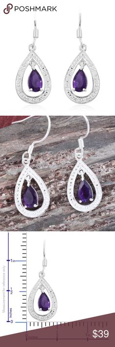 NEW Amethyst Sterling Silver Dangle Earrings New Artisan Retail $69.99 TGW 1.78 African Amethyst Set in Sterling Silver. Accentuate your charm with these amethyst earrings. Set in sterling silver, the pieces will win you appreciative glances wherever you go. Great for business work or casual attire! Jewelry lover bracelets necklaces rings bracelets and brooches in my closet! Artisan Jewelry Earrings