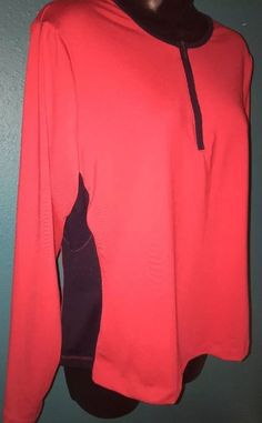 33230544c0633a Prospirit Top 3 4 Zip Red Black Athletic Stretch Shirt Sz Large Long Sleeve  C18