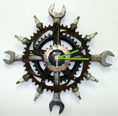 Custom wall clock, complete with spanners. Perfect for the motorcycle garage?