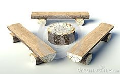Wooden bench and table made of tree trunks by Leszek  Glasner, via Dreamstime