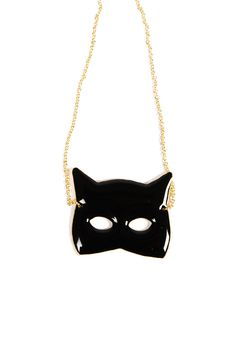 {Black Cat Mask Necklace}  Mix equal parts Batman and Breakfast at Tiffany's...