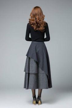 dark gray skirt layered skirt high waisted skirt womens Source by krivenoktatana Midi Skirt Outfit, Skirt Outfits, Dress Skirt, Holiday Skirts, Winter Skirt, Layered Skirt, Wool Skirts, Women's Skirts, Girly Outfits