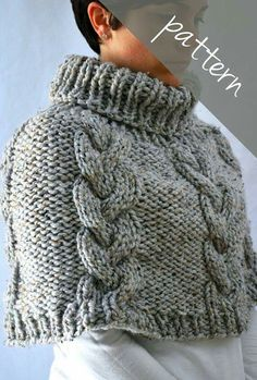 Cable capelet cowl knit