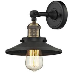 """Halophane Black Brass 9"""" Wide Metal Shade Wall Sconce - #1G805 