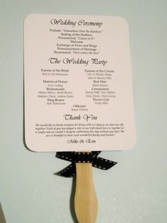 Floral Wedding Program Fans Fan Stick Wooden Handle By Citlali