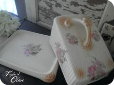 floral covered cheese dish