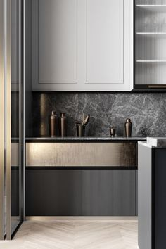 Grey Based Neoclassical Interior Design With Muted & Metallic Accents Kitchen Interior Design Accents Based Design Grey Interior Metallic Muted Neoclassical Contemporary Kitchen, Kitchen Remodel, Kitchen Inspirations, Neoclassical Interior Design, Modern Kitchen, Home Decor Kitchen, Kitchen Interior, Interior Design Kitchen, House Interior